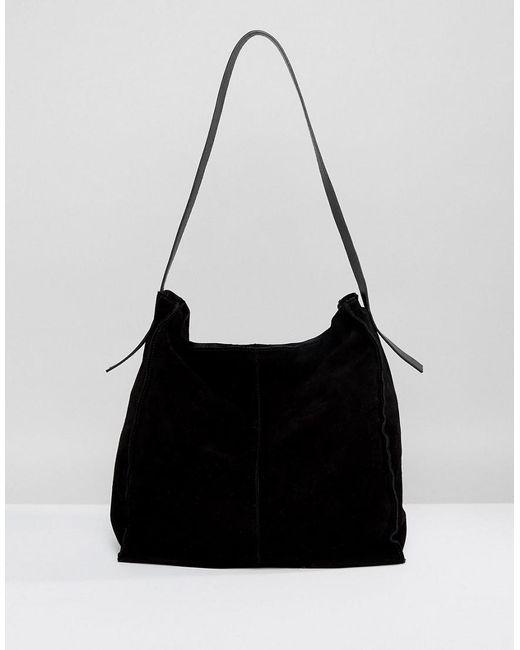 Suede Contrast Shoulder Bag - Black Asos z4XlReI4H