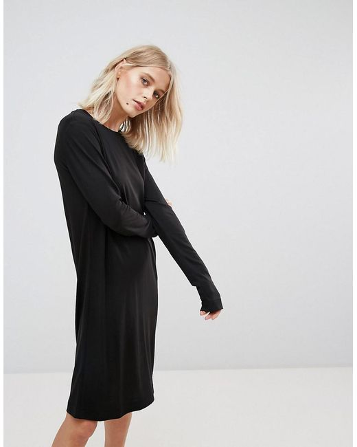 Weekday - Column Dress With Long Sleeves In Black - Lyst