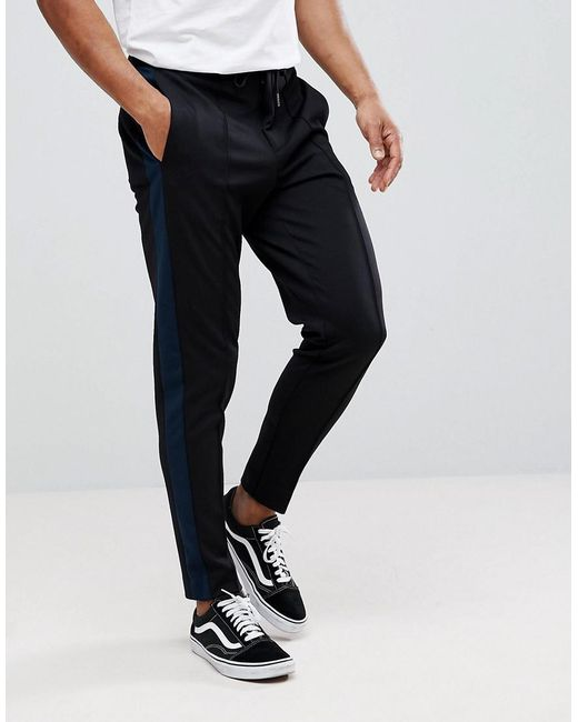 SELECTED - Black Tapered Trousers With Stripe for Men - Lyst