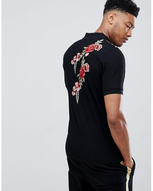 Particular Muscle Polo Shirt With Rose Embroidery Exclusive To ASOS - Black Sixth June Clearance Outlet Locations 5aaD1jhXTq