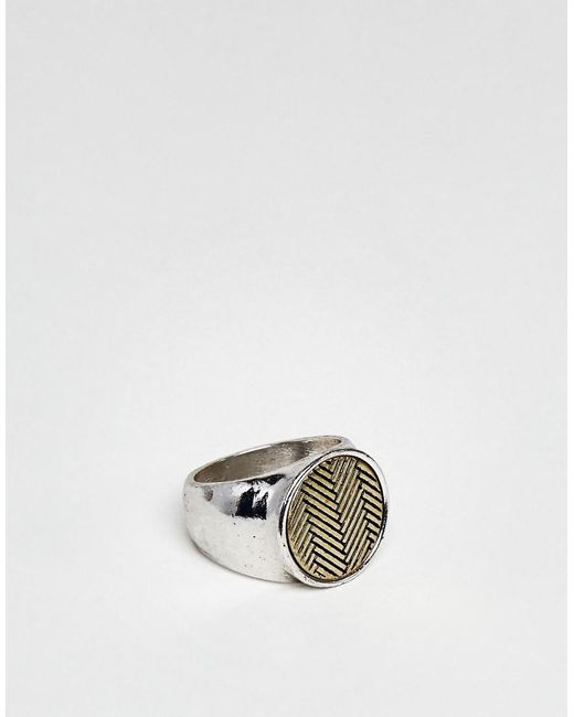 Icon Brand - Metallic Antique Silver Signet Ring With Chevron Coin Detail for Men - Lyst