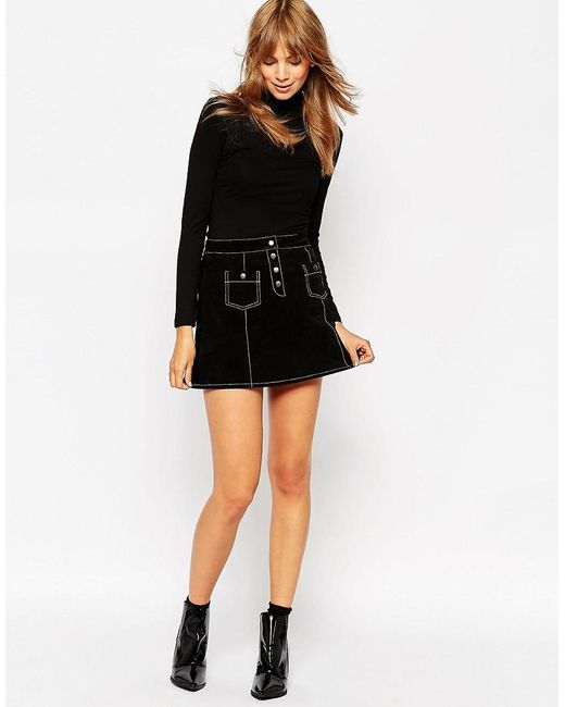 ASOS | Black A-line Suede Mini Skirt With Contrast Stitch And Button Through | Lyst