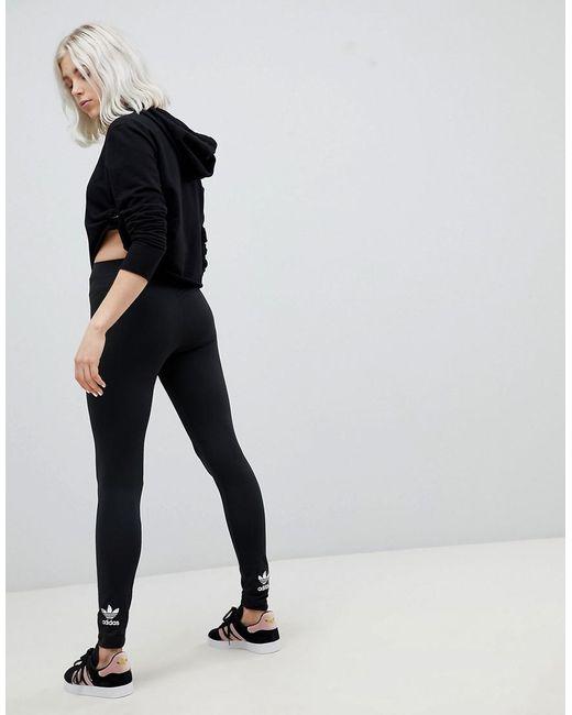 c60192998b779 Adidas Originals - Originals Adicolor Trefoil Leggings In Black - Lyst ...