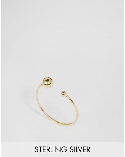 ASOS | Metallic Gold Plated Sterling Silver Fine Open Bead Ring | Lyst