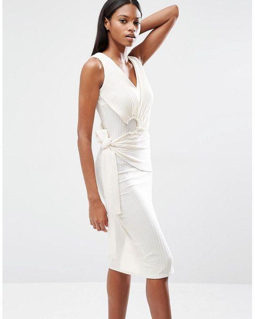 Lavish Alice   White Rib Knit Tie Wrap Front Open Ring Detail Midi Dress   Lyst