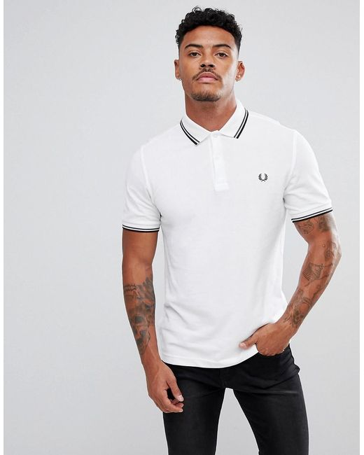 Fred Perry - Slim Fit Twin Tipped Polo Shirt In White for Men - Lyst ...