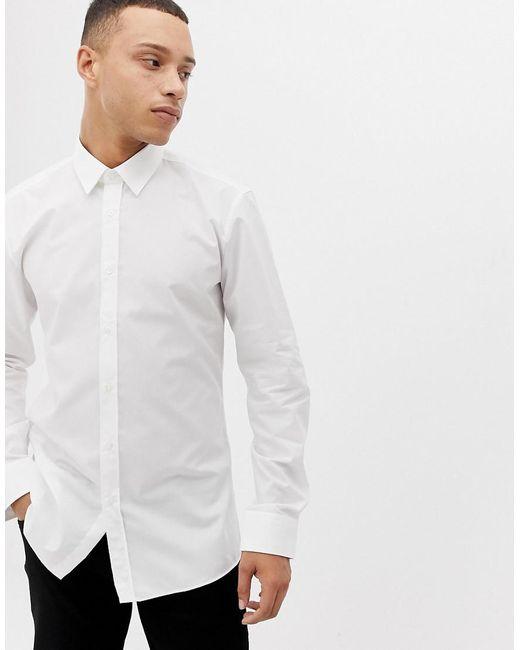 HUGO - Elisha01 Extra Slim Fit Poplin Shirt In White for Men - Lyst