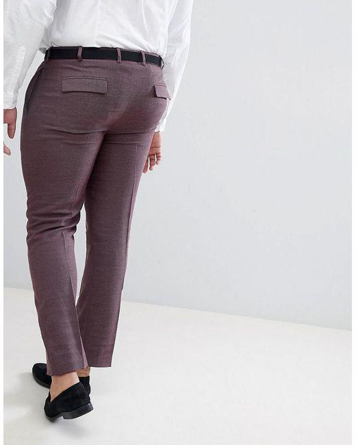 PLUS Wedding Skinny Suit Trousers In Damson Micro Texture - Purple Asos nikJD