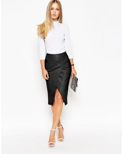 ASOS | Black Leather Wrap Pocket Detail Skirt | Lyst
