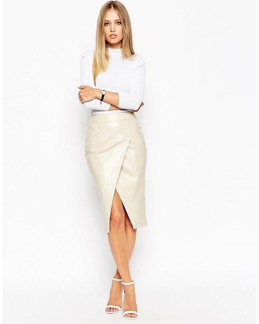 ASOS | Natural Leather Wrap Pocket Detail Skirt | Lyst