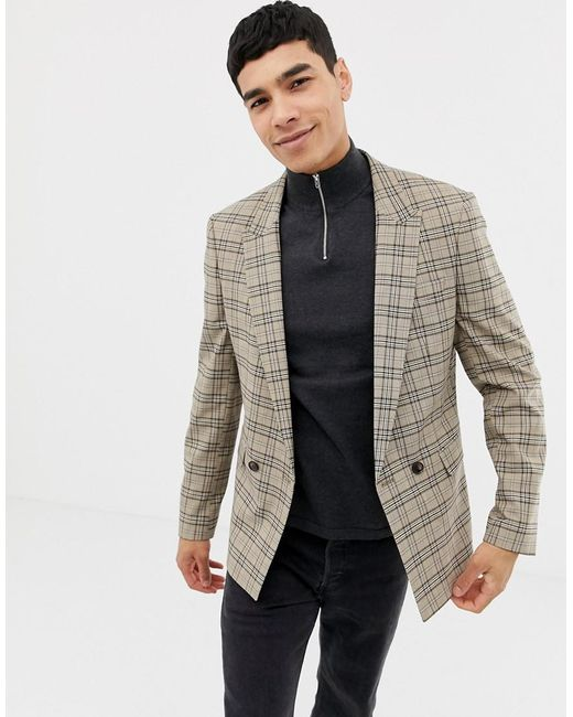 2b2e21bd asos-brown-Skinny-Double-Breasted-Blazer-In-Brown-Prince-Of-Wales-Check.jpeg