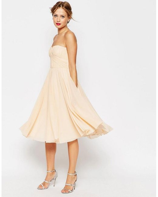 ASOS | Natural Wedding Ruched Bodice Bandeau Midi Dress | Lyst