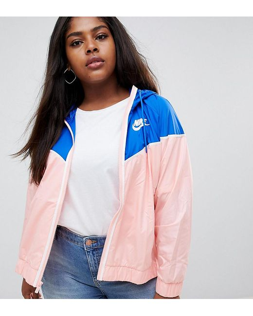 795580a1cbe8 Nike Plus Windrunner Jacket In Pink And Blue in Pink - Lyst