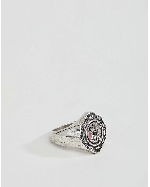 ASOS DESIGN - Metallic Ring With Crest In Burnished Silver Tone for Men - Lyst