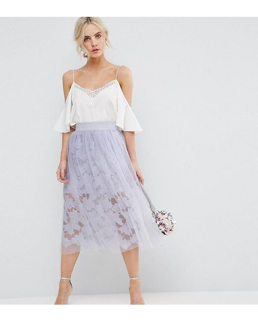 ASOS | Blue Lace Prom Skirt With Tulle Overlay | Lyst