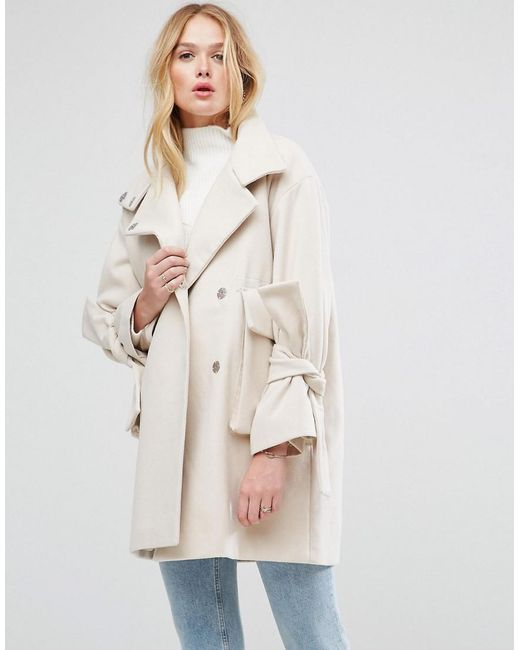 ASOS | Pink Oversized Coat With Bow Sleeve | Lyst