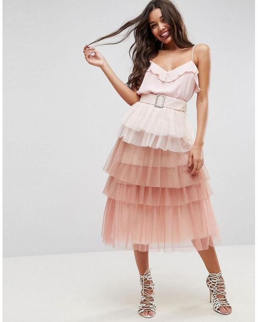 ASOS | Pink Tulle Prom Skirt With Rainbow Layers And Belt | Lyst