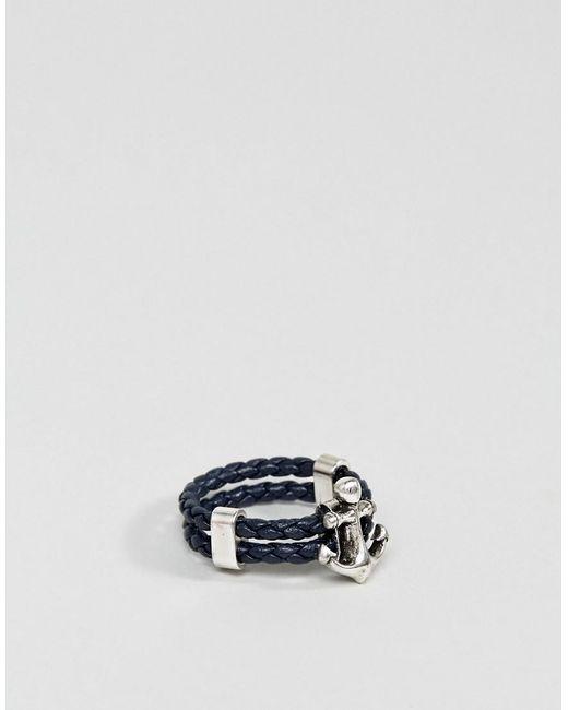 Steve Madden - Blue Anchor Leather Ring for Men - Lyst