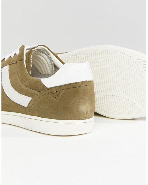 HUGO BOSS Rumba Stripe Sneakers in Khaki 9P6YgfZp