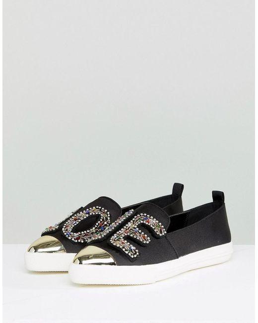 Beaded LOVE Satin Sneakers - Black Kurt Geiger yaomXxL