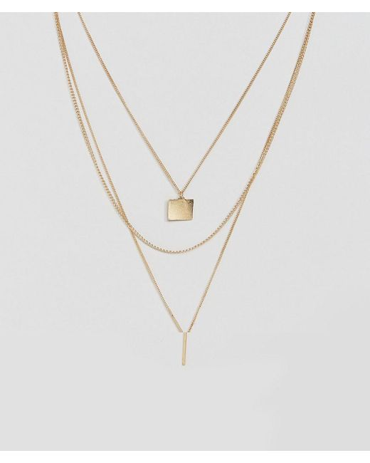 ASOS | Metallic Sleek Shapes Multirow Necklace | Lyst