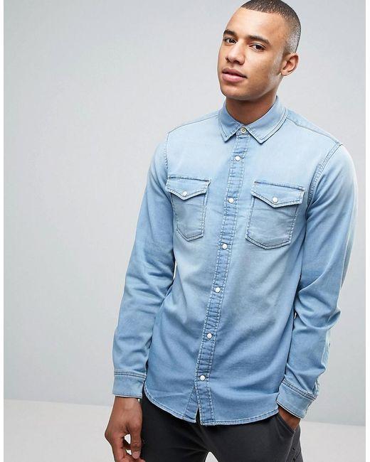 Jack & Jones   Blue Intelligence Slim Fit Jersey Denim Shirt for Men   Lyst