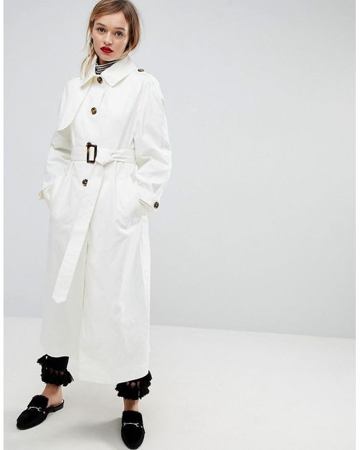 ASOS - White Single Breasted Oversized Mac - Lyst