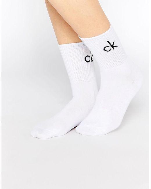 CALVIN KLEIN 205W39NYC - White Retro Logo Short Crew Socks - Lyst