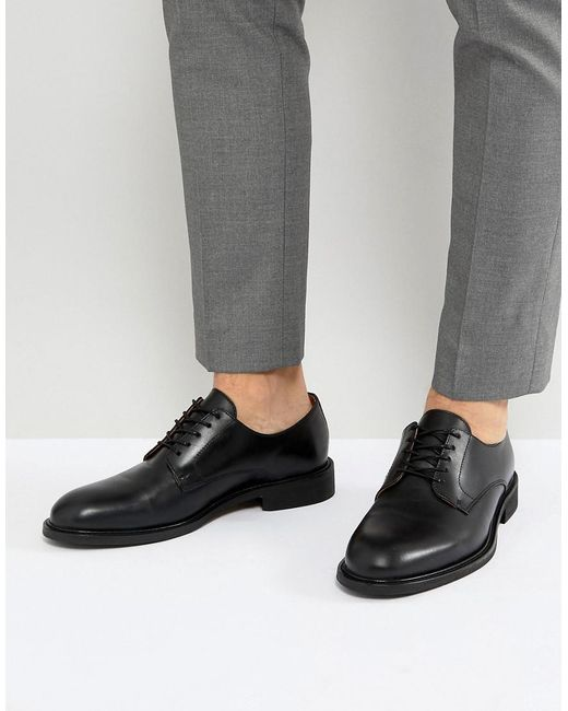 SELECTED - Black Leather Derby Shoes for Men - Lyst