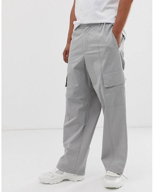 46397b8b9933 ASOS Wide Leg Cargo Pants In Pale Gray in Gray for Men - Lyst