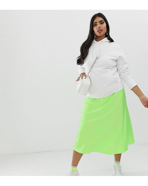 11fe53e868 ASOS - Green Asos Design Curve Bias Cut Satin Slip Midi Skirt In Neon -  Lyst ...