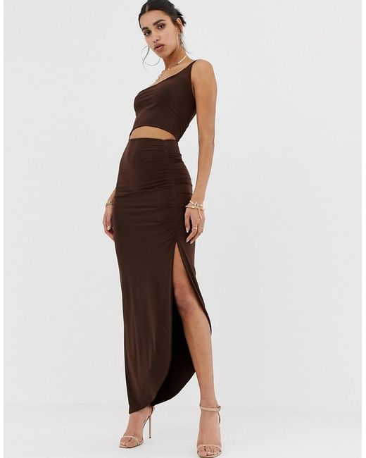 03ed5ad37ca PRETTYLITTLETHING - Brown Slinky One Shoulder Cut Out Midi Dress With  Ruched Side Split In Chocolate PRETTYLITTLETHING ...