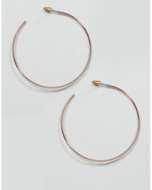 ASOS DESIGN - Metallic Hoop Earrings In 50mm Fine Wire Design In Rose Gold - Lyst