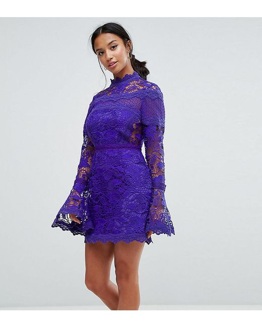 118232fe433f ASOS - Blue Lace Long Sleeve Mini Dress With Fluted Sleeves - Lyst ...