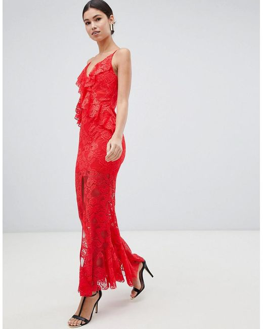 Love Triangle - Ruffle Lace Maxi Dress With Cross Back In Red - Lyst