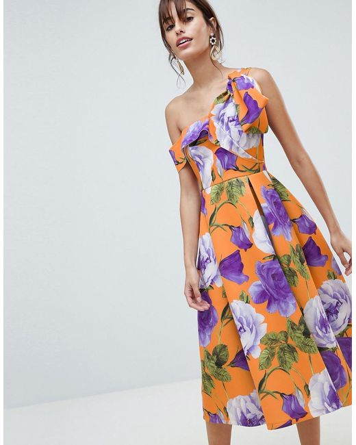 64e15d38baf ASOS - Multicolor Scuba Bow One Shoulder Prom Dress In Bright Floral Print  - Lyst ...