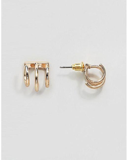 ASOS | Metallic Triple Hoop Swing Earring | Lyst