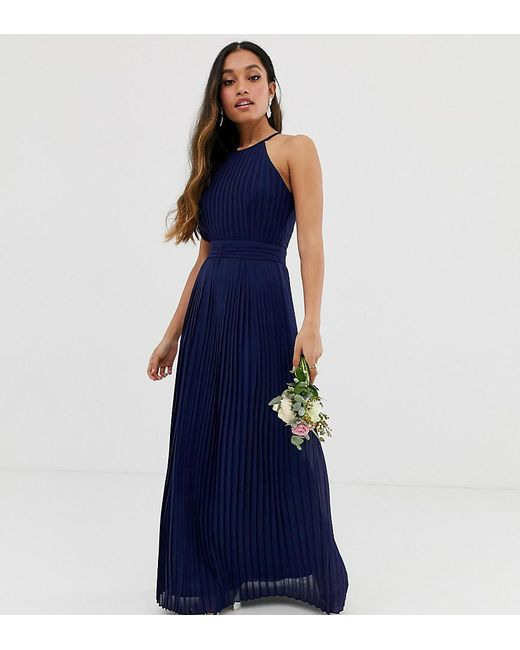 5a451389 TFNC London - Blue Bridesmaid Exclusive High Neck Pleated Maxi Dress In Navy  - Lyst ...