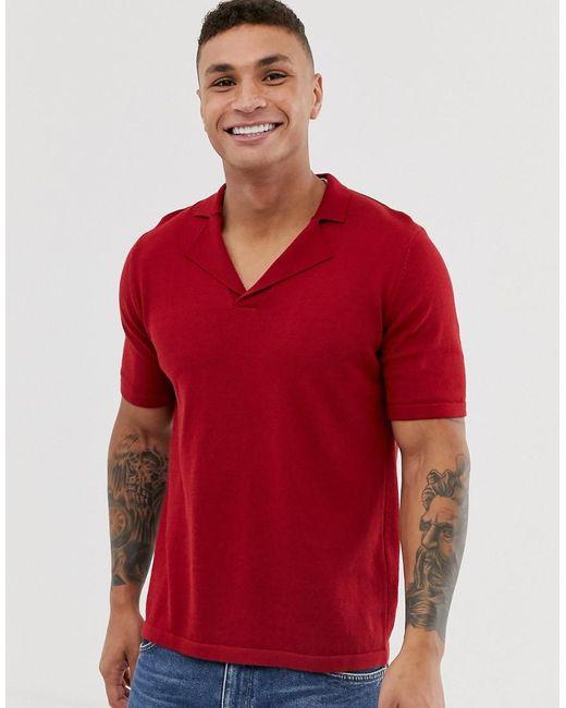 ASOS Knitted Revere Polo Shirt In Red for men