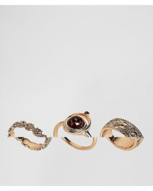 ASOS | Metallic Pack Of 3 Faux Smoked Topaz And Engraved Rings | Lyst