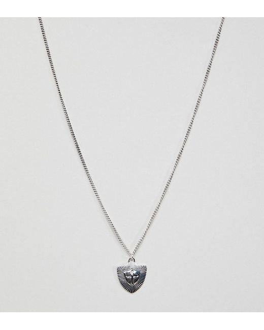 Reclaimed (vintage) - Metallic Inspired Sterling Silver Necklace With Shield Pendant Exclusive At Asos for Men - Lyst