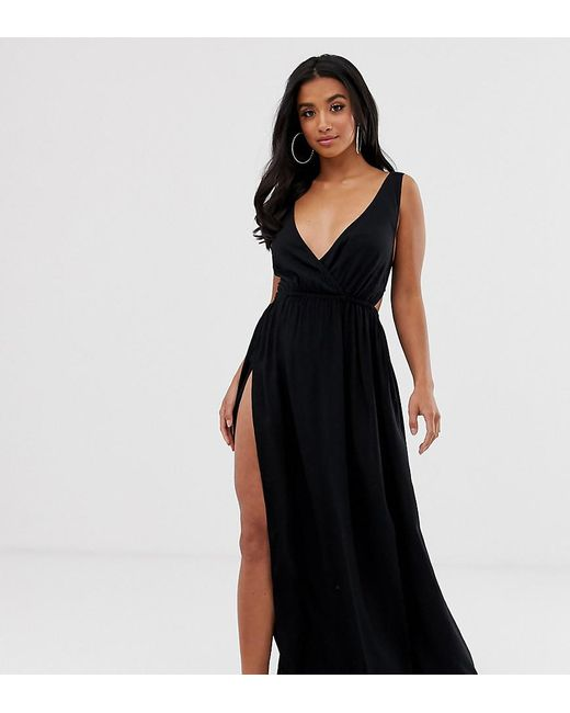 9601605013248 ASOS - Petite Tie Back Cross Front Split Maxi Beach Dress In Black - Lyst  ...