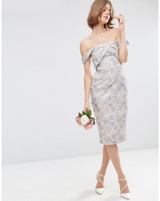 Asos wedding jacquard midi pencil dress in multicolour for Pencil dress for wedding