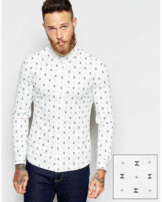 ASOS | White Skinny Shirt With Geo Print In Long Sleeve for Men | Lyst