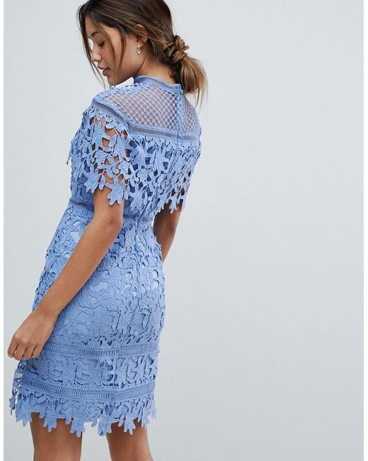 034ae92d9b8bd ... Chi Chi London - Lace High Neck Mini Dress In Cornflower Blue - Lyst