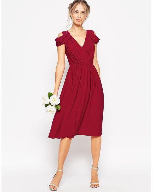 ASOS   Purple Wedding Drape Cold Shoulder Midi Dress   Lyst