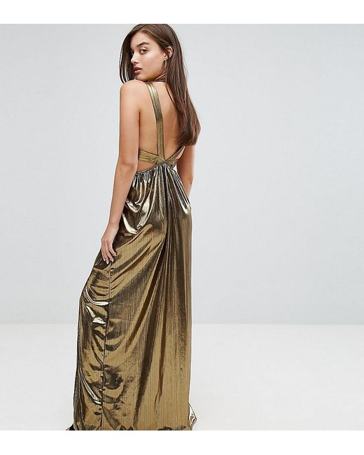 1bb5ee111f TFNC London - Metallic V Neck Maxi Dress With Pleated Back Panels - Lyst ...