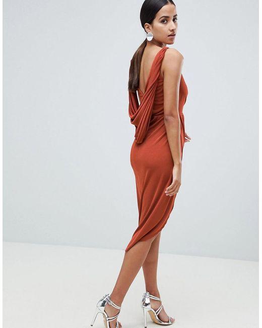 ASOS - Red Slinky Drape Back Lace Insert Midi Dress - Lyst