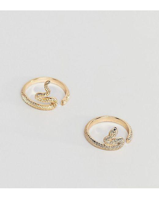 ASOS - Metallic Asos Design Curve Pack Of 2 Rings In Split Snake Design In Gold - Lyst