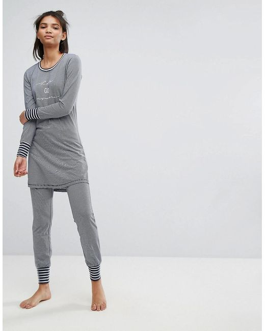 Esprit - Blue Striped Pyjama Bottoms - Lyst
